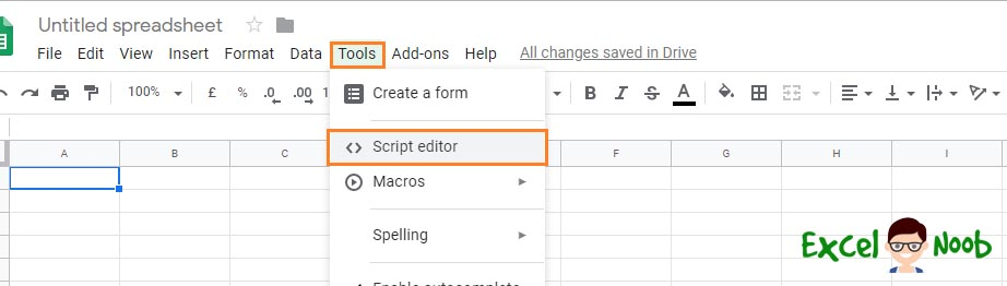 Google Spreadsheet Script Editor Menu