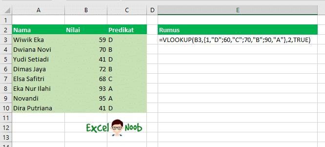 Vlookup tanpa table array