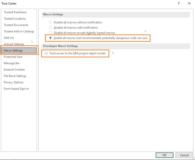 Excel Option Macro Setting Enable
