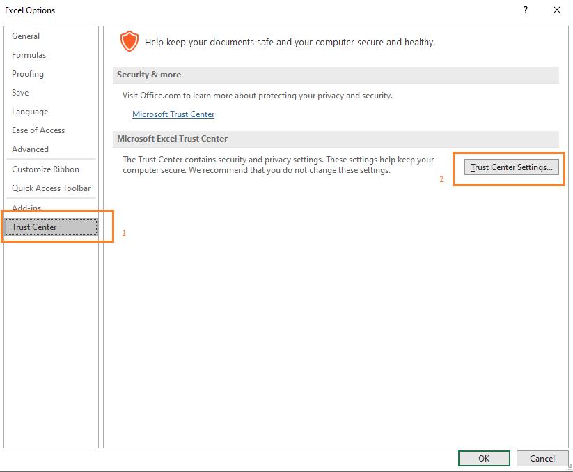 Excel Option Macro Setting