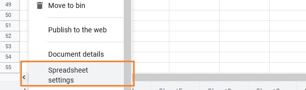 Spreadsheet Setting